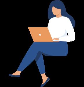 Femme assise avec un ordinateur