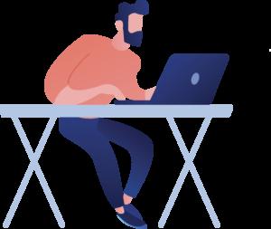Homme assis à un bureau